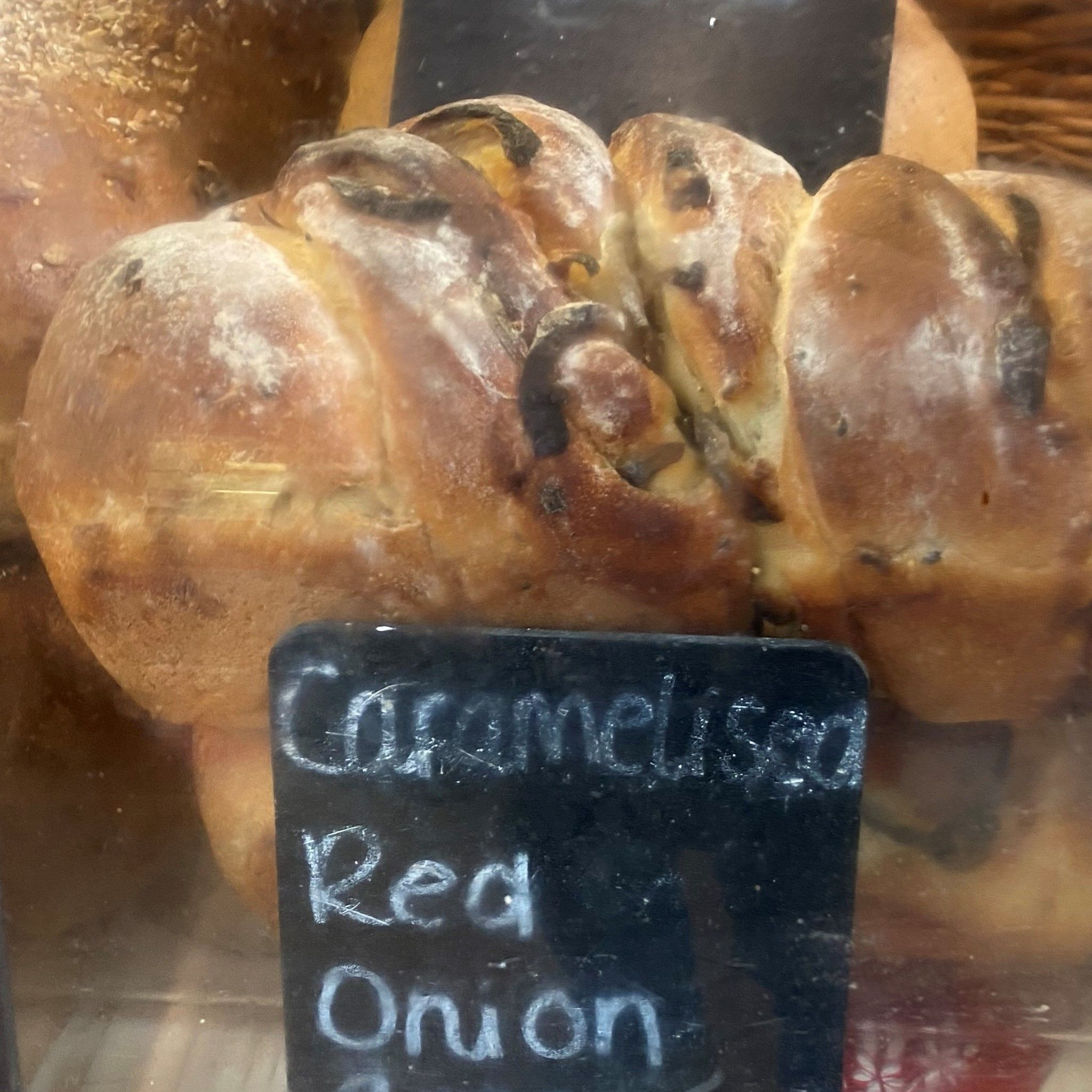 Caramelised red onion bread - £3.50