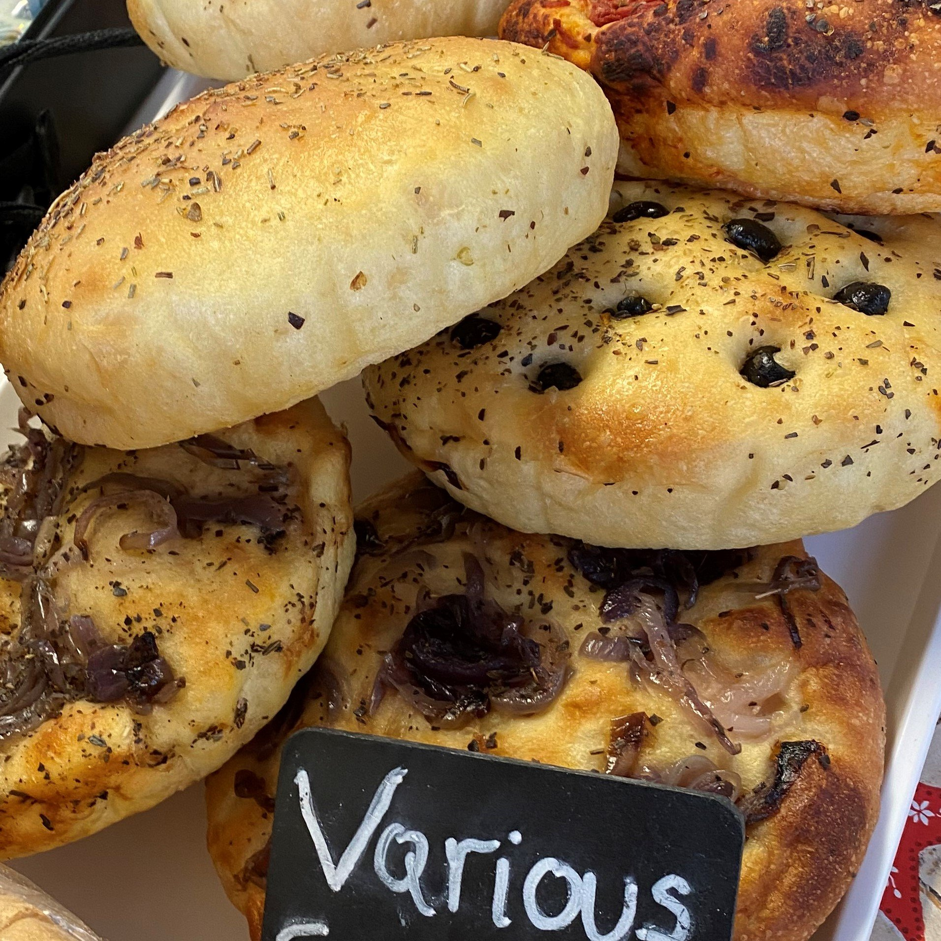 Focaccia (caramelised red onion, olive, dried tomato or mixed) - £2.30